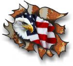 Ripped Torn Metal Rusty Design With American Bald Eagle Motif External Vinyl Car Sticker 105x130mm